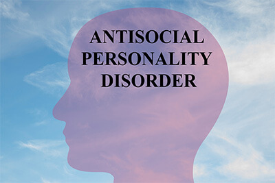 "Render illustration of ""ANTISOCIAL PERSONALITY DISORDER"" title on head silhouette with cloudy sky as a background"