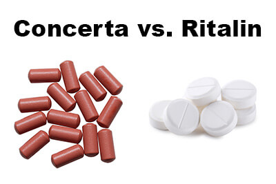 ritalin pills and concerta pills on a white background