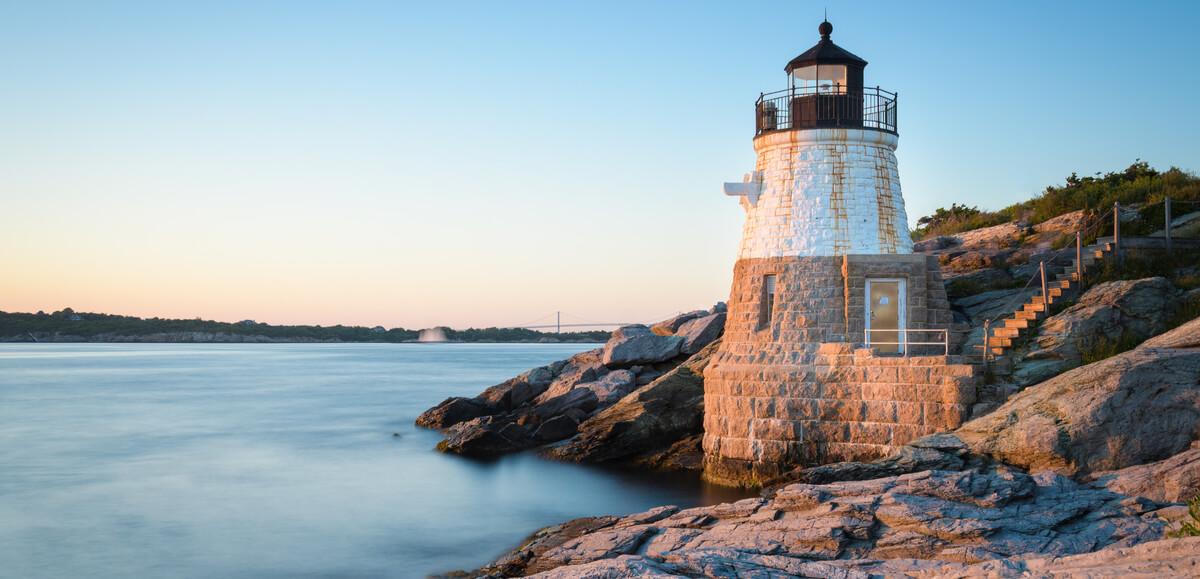 Sunset at Castle Hill Lighthouse on Newport, Rhode Island